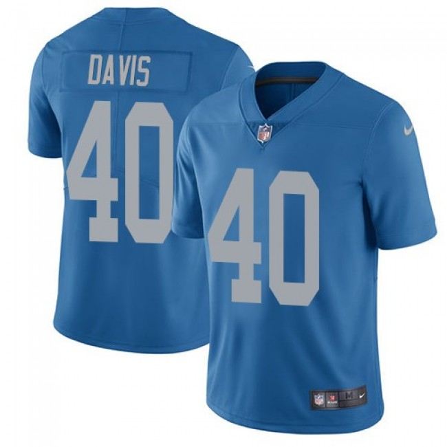 Detroit Lions #40 Jarrad Davis Blue Throwback Youth Stitched NFL Vapor Untouchable Limited Jersey