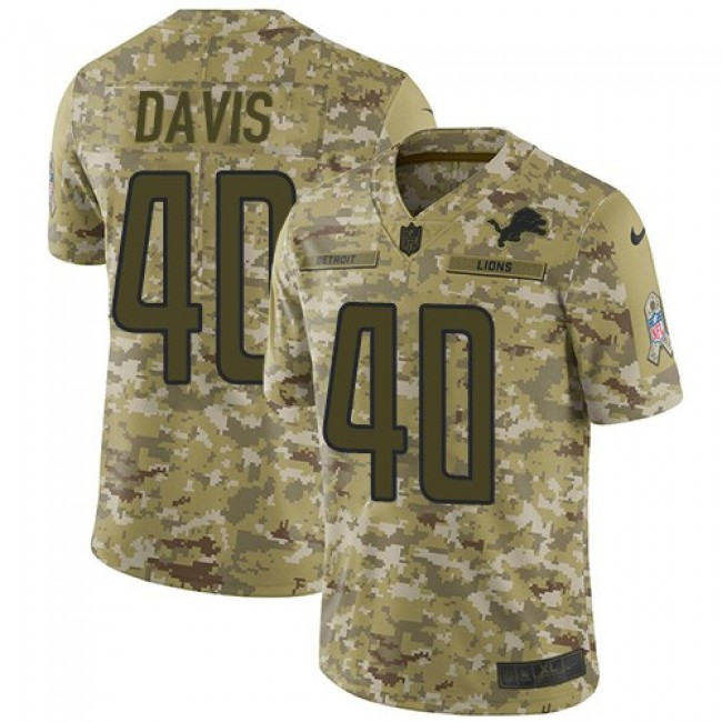 Nike Lions #40 Jarrad Davis Camo Men's Stitched NFL Limited 2018 Salute To Service Jersey