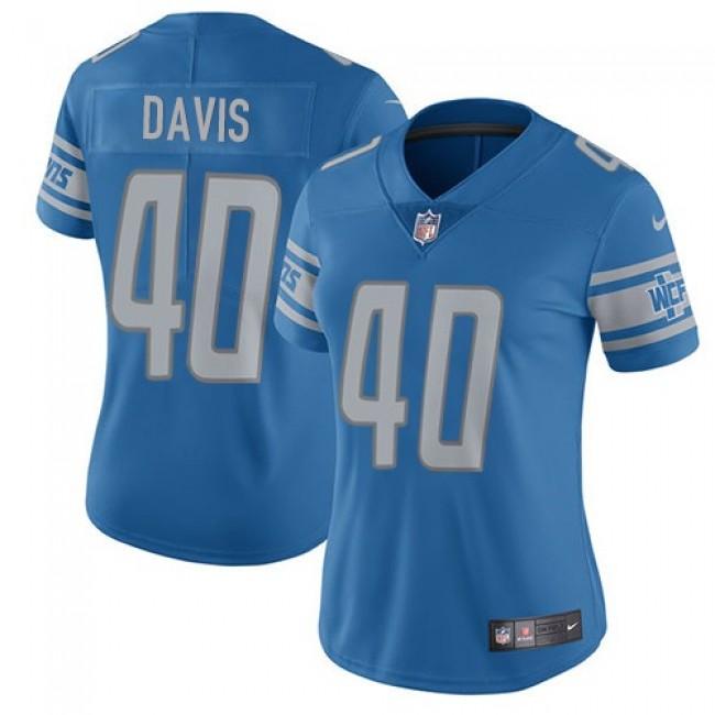 Women's Lions #40 Jarrad Davis Light Blue Team Color Stitched NFL Vapor Untouchable Limited Jersey