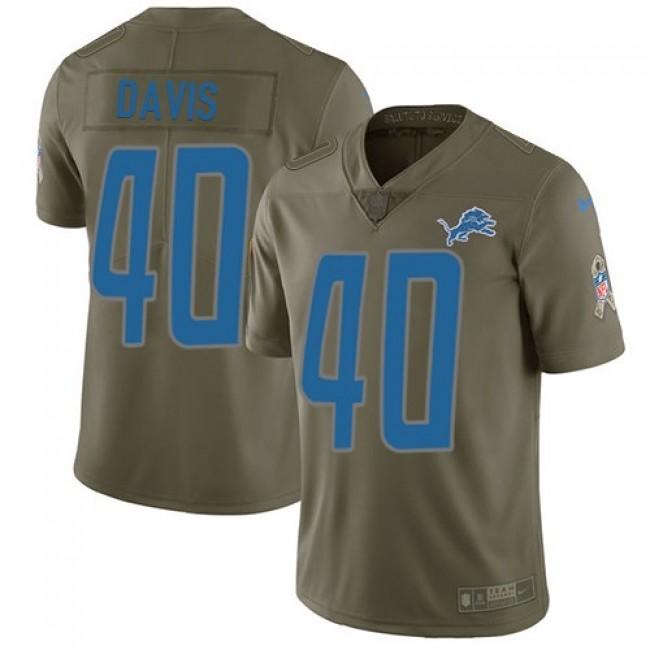 Nike Lions #40 Jarrad Davis Olive Men's Stitched NFL Limited 2017 Salute to Service Jersey