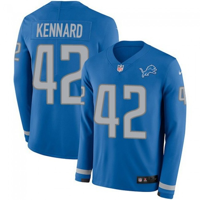 Nike Lions #42 Devon Kennard Blue Team Color Men's Stitched NFL Limited Therma Long Sleeve Jersey