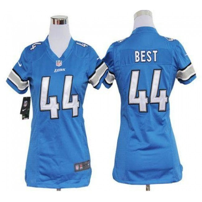 Women's Lions #44 Jahvid Best Light Blue Team Color Stitched NFL Elite Jersey