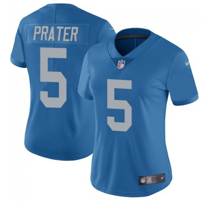 Women's Lions #5 Matt Prater Blue Throwback Stitched NFL Vapor Untouchable Limited Jersey