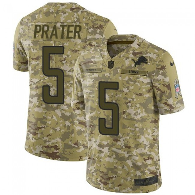 Nike Lions #5 Matt Prater Camo Men's Stitched NFL Limited 2018 Salute To Service Jersey