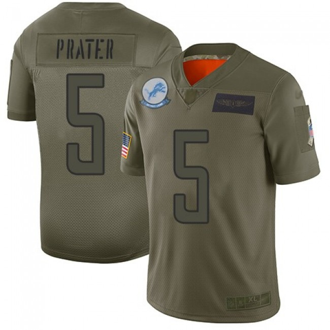 Nike Lions #5 Matt Prater Camo Men's Stitched NFL Limited 2019 Salute To Service Jersey