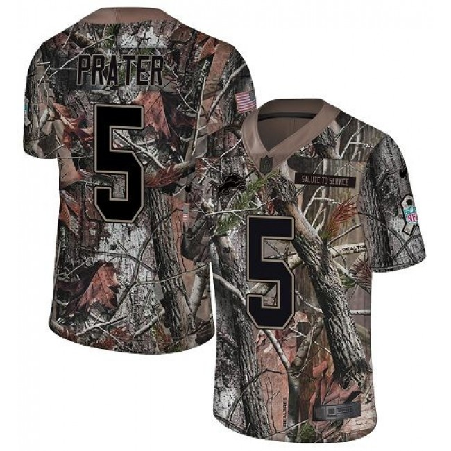Nike Lions #5 Matt Prater Camo Men's Stitched NFL Limited Rush Realtree Jersey