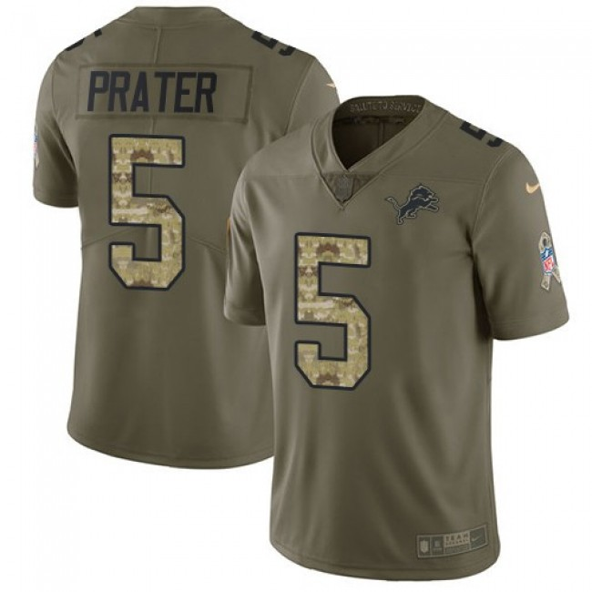Nike Lions #5 Matt Prater Olive/Camo Men's Stitched NFL Limited 2017 Salute To Service Jersey