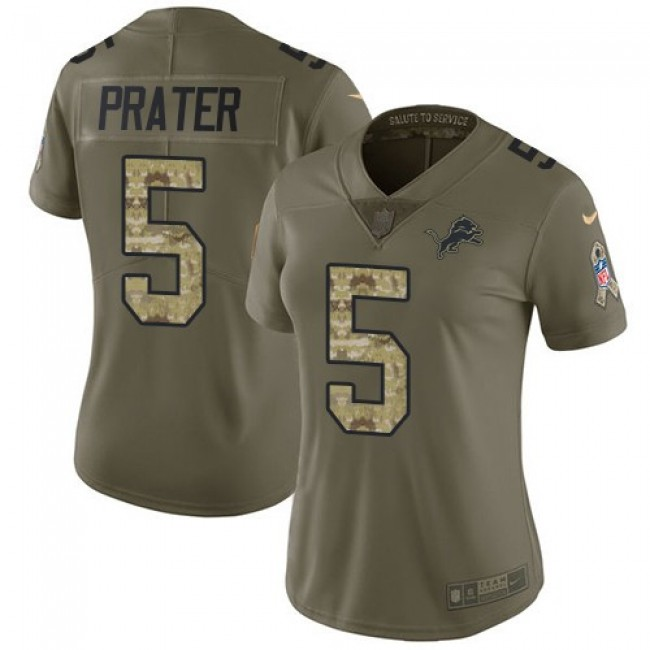 Women's Lions #5 Matt Prater Olive Camo Stitched NFL Limited 2017 Salute to Service Jersey