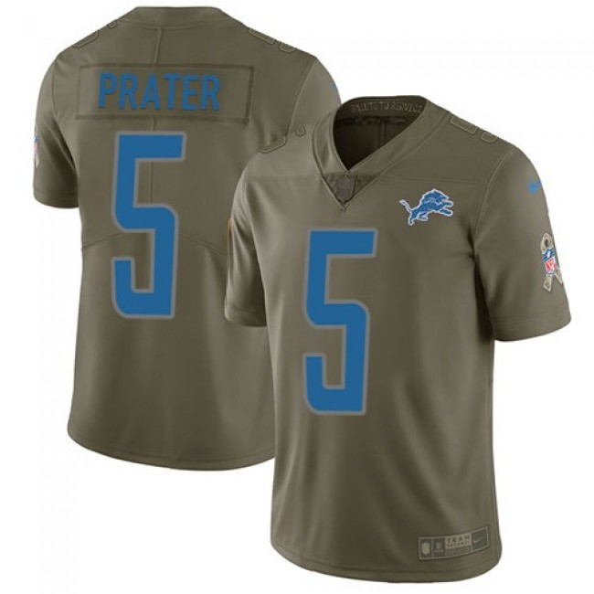 Nike Lions #5 Matt Prater Olive Men's Stitched NFL Limited 2017 Salute to Service Jersey