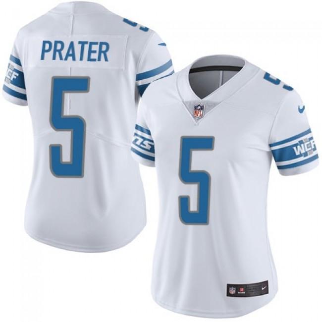 Women's Lions #5 Matt Prater White Stitched NFL Vapor Untouchable Limited Jersey