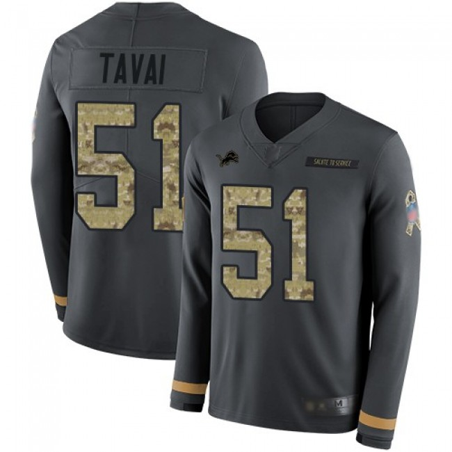 Nike Lions #51 Jahlani Tavai Anthracite Salute to Service Men's Stitched NFL Limited Therma Long Sleeve Jersey