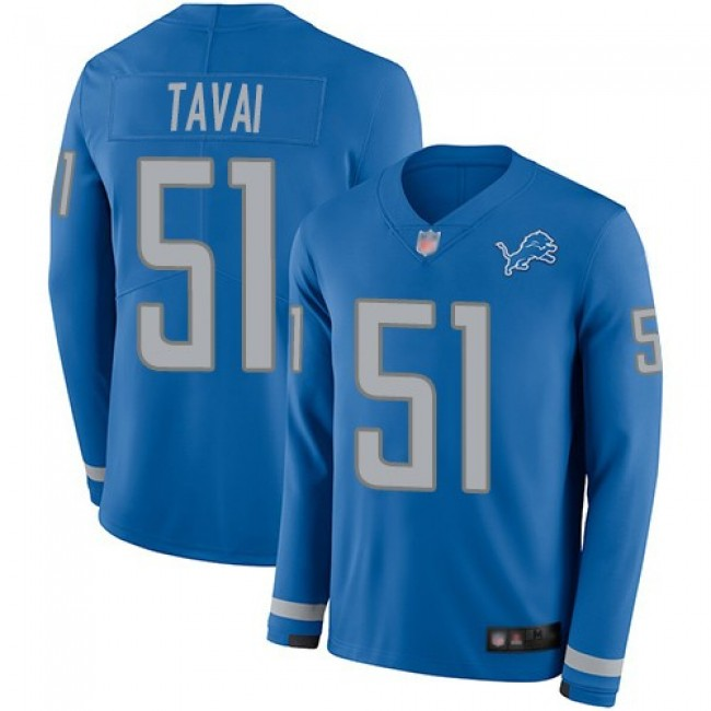 Nike Lions #51 Jahlani Tavai Blue Team Color Men's Stitched NFL Limited Therma Long Sleeve Jersey