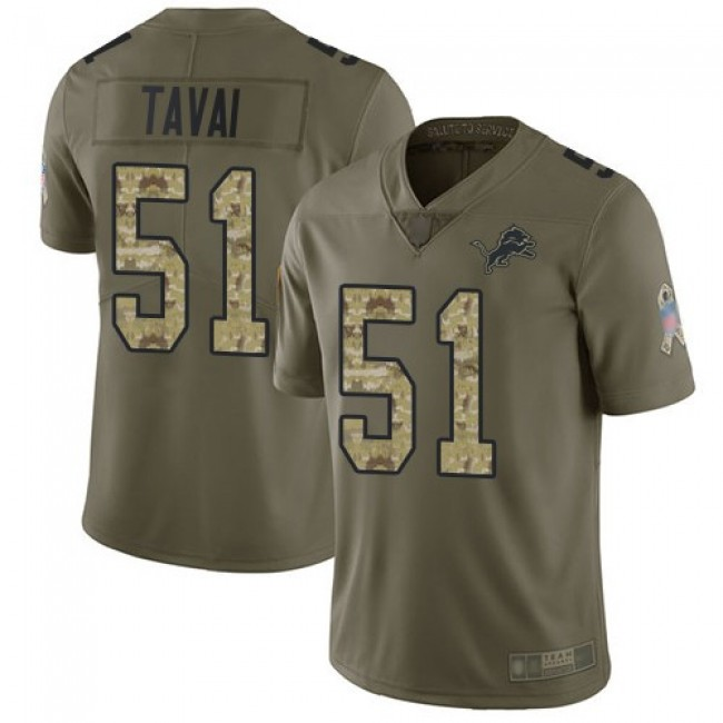 Nike Lions #51 Jahlani Tavai Olive/Camo Men's Stitched NFL Limited 2017 Salute To Service Jersey