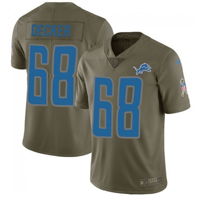 Nike Lions #68 Taylor Decker Olive Men's Stitched NFL Limited 2017 Salute to Service Jersey
