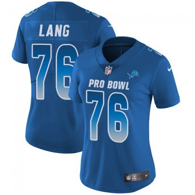 Women's Lions #76 T.J. Lang Royal Stitched NFL Limited NFC 2018 Pro Bowl Jersey