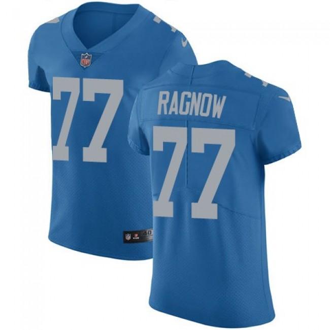 Nike Lions #77 Frank Ragnow Blue Throwback Men's Stitched NFL Vapor Untouchable Elite Jersey