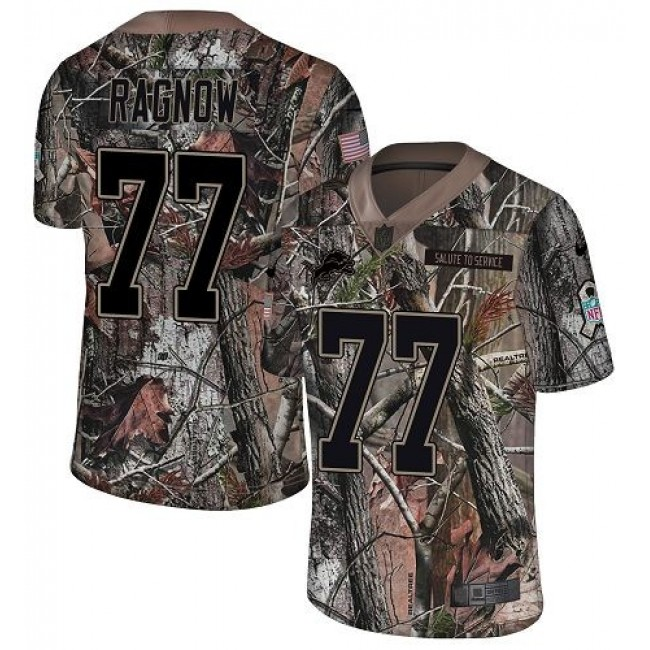 Nike Lions #77 Frank Ragnow Camo Men's Stitched NFL Limited Rush Realtree Jersey