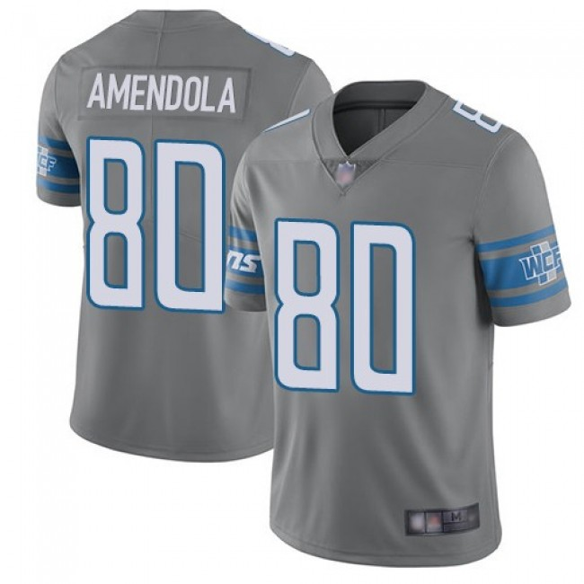 Nike Lions #80 Danny Amendola Gray Men's Stitched NFL Limited Rush Jersey