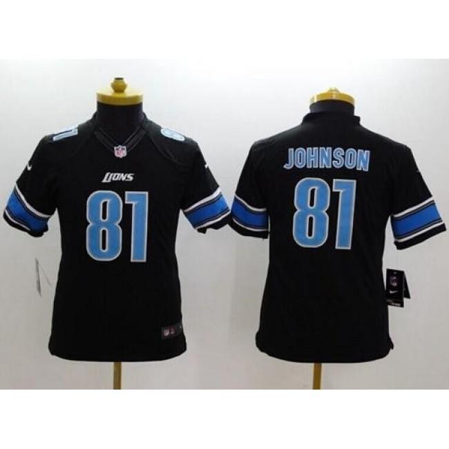Detroit Lions #81 Calvin Johnson Black Alternate Youth Stitched NFL Limited Jersey