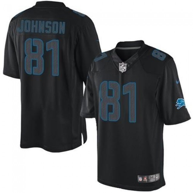 Nike Lions #81 Calvin Johnson Black Men's Stitched NFL Impact Limited Jersey