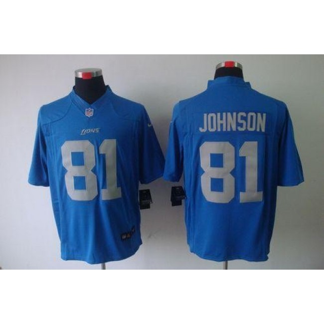 Nike Lions #81 Calvin Johnson Blue Alternate Throwback Men's Stitched NFL Limited Jersey
