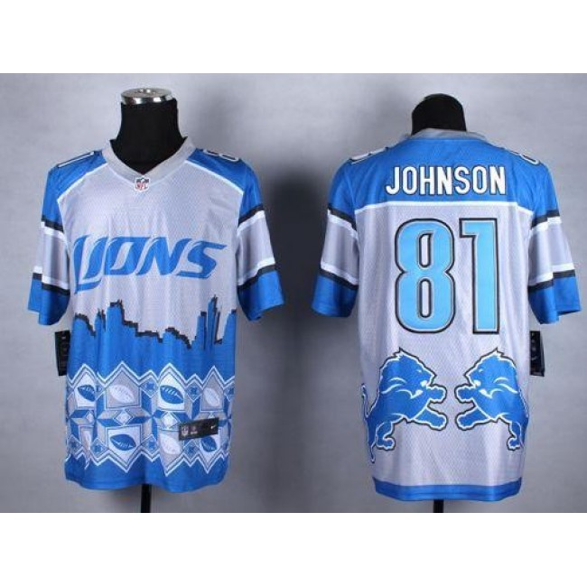 Nike Lions #81 Calvin Johnson Blue Men's Stitched NFL Elite Noble Fashion Jersey