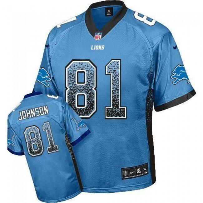 Nike Lions #81 Calvin Johnson Blue Team Color Men's Stitched NFL Elite Drift Fashion Jersey