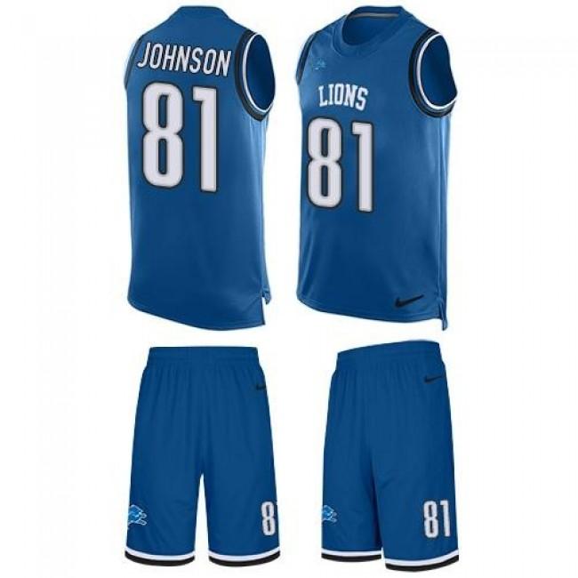 Nike Lions #81 Calvin Johnson Blue Team Color Men's Stitched NFL Limited Tank Top Suit Jersey