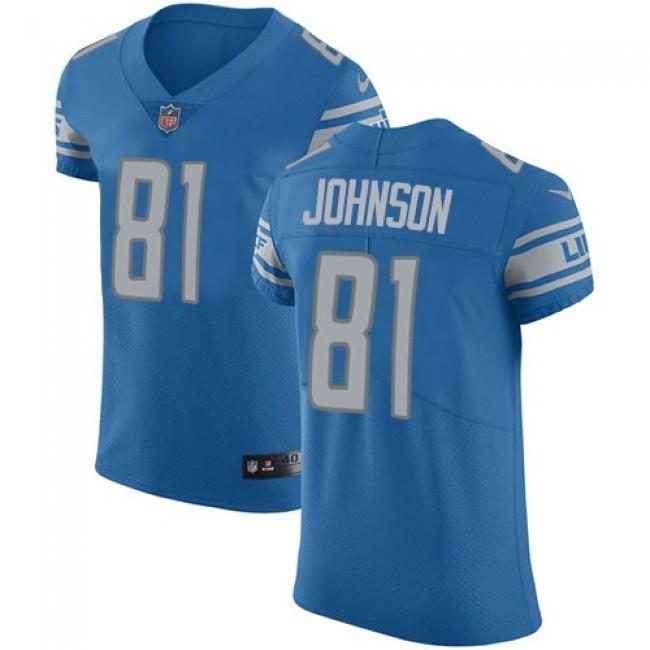 Nike Lions #81 Calvin Johnson Blue Team Color Men's Stitched NFL Vapor Untouchable Elite Jersey