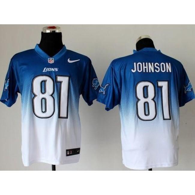 Nike Lions #81 Calvin Johnson Blue/White Men's Stitched NFL Elite Fadeaway Fashion Jersey