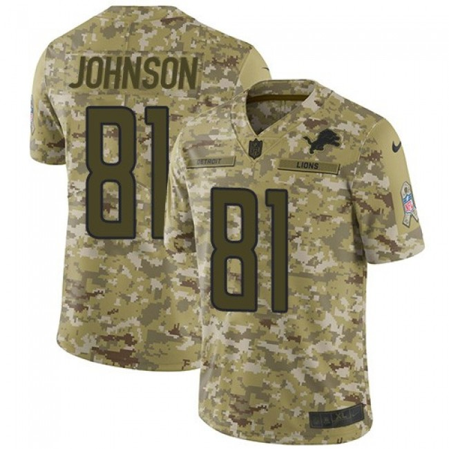 Nike Lions #81 Calvin Johnson Camo Men's Stitched NFL Limited 2018 Salute To Service Jersey