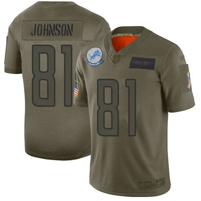 Nike Lions #81 Calvin Johnson Camo Men's Stitched NFL Limited 2019 Salute To Service Jersey