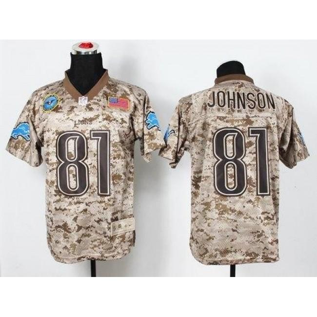 Nike Lions #81 Calvin Johnson Camo Men's Stitched NFL New Elite USMC Jersey