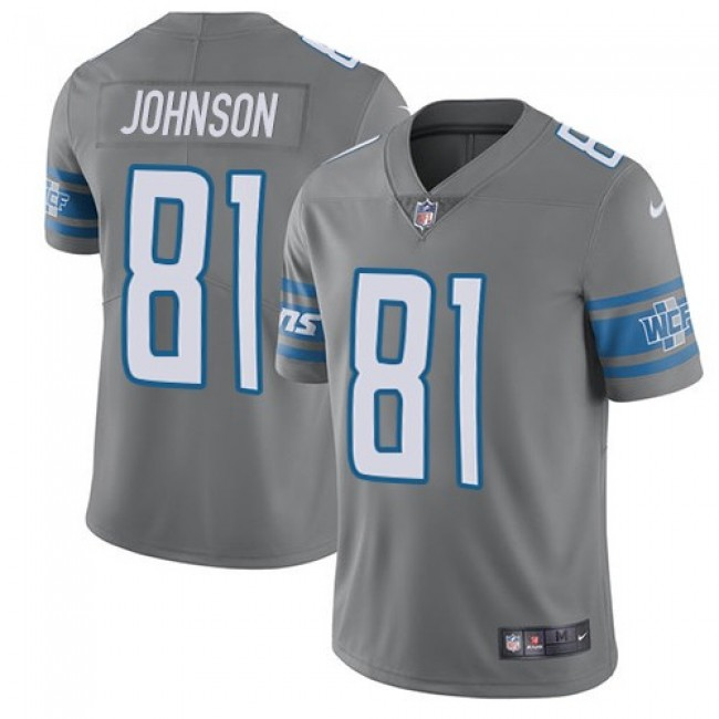 Nike Lions #81 Calvin Johnson Gray Men's Stitched NFL Limited Rush Jersey