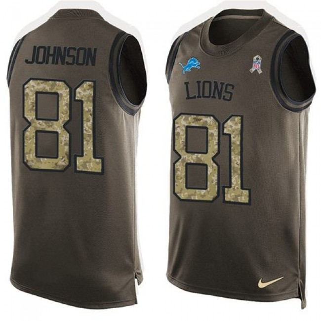 Nike Lions #81 Calvin Johnson Green Men's Stitched NFL Limited Salute To Service Tank Top Jersey
