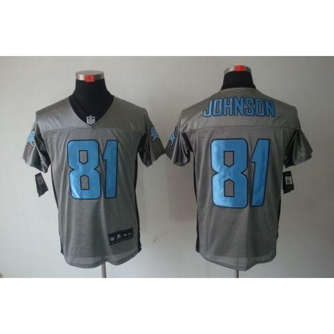 Nike Lions #81 Calvin Johnson Grey Shadow Men's Stitched NFL Elite Jersey