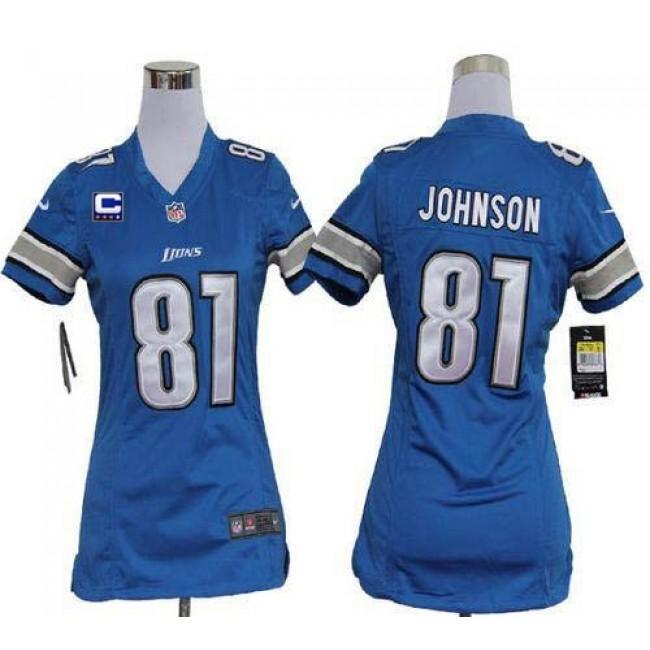 Women's Lions #81 Calvin Johnson Light Blue Team Color With C Patch Stitched NFL Elite Jersey