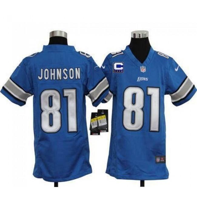 Detroit Lions #81 Calvin Johnson Light Blue Team Color With C Patch Youth Stitched NFL Elite Jersey