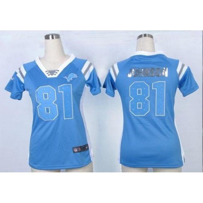 Women's Lions #81 Calvin Johnson Light Blue Team Color Stitched NFL Elite Draft Him Shimmer Jersey