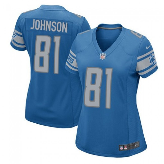 Women's Lions #81 Calvin Johnson Light Blue Team Color Stitched NFL Elite Jersey