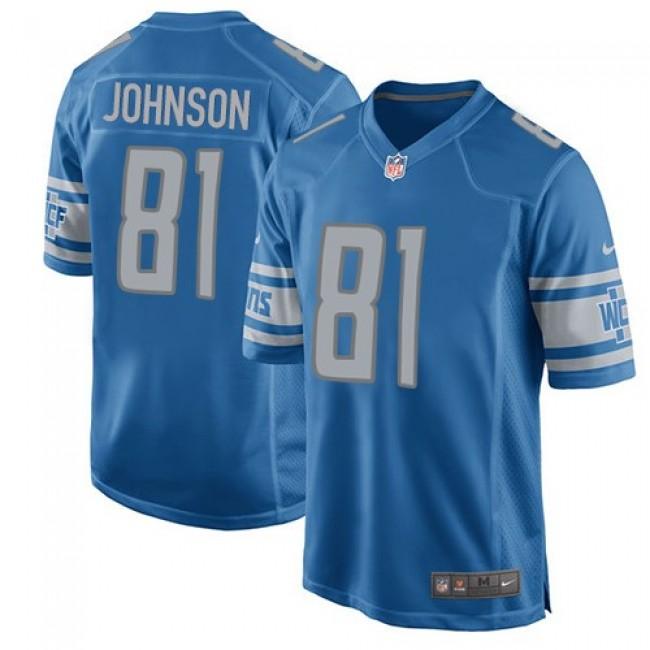 Detroit Lions #81 Calvin Johnson Light Blue Team Color Youth Stitched NFL Elite Jersey