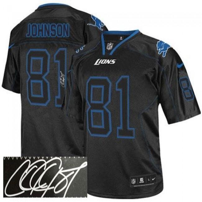 Nike Lions #81 Calvin Johnson Lights Out Black Men's Stitched NFL Elite Autographed Jersey