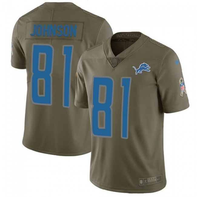 Nike Lions #81 Calvin Johnson Olive Men's Stitched NFL Limited 2017 Salute to Service Jersey