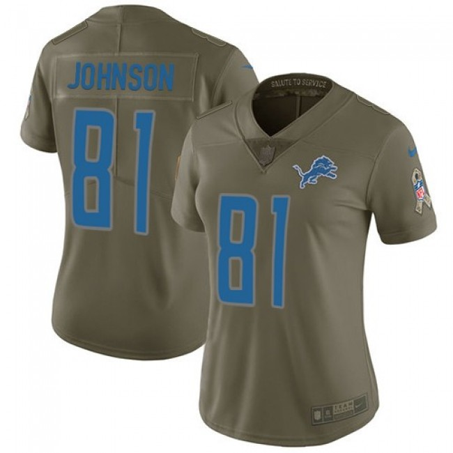 Women's Lions #81 Calvin Johnson Olive Stitched NFL Limited 2017 Salute to Service Jersey
