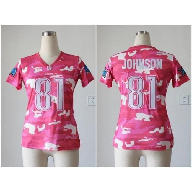 Women's Lions #81 Calvin Johnson Pink Stitched NFL Elite Camo Jersey