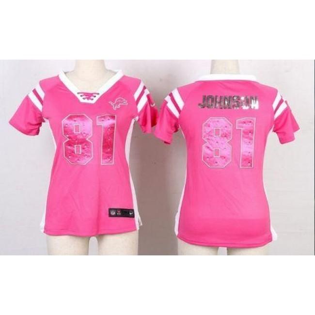 Women's Lions #81 Calvin Johnson Pink Stitched NFL Elite Draft Him Shimmer Jersey