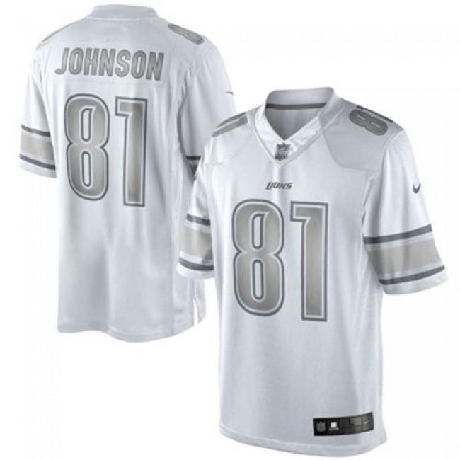 Nike Lions #81 Calvin Johnson White Men's Stitched NFL Limited Platinum Jersey