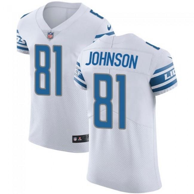 Nike Lions #81 Calvin Johnson White Men's Stitched NFL Vapor Untouchable Elite Jersey