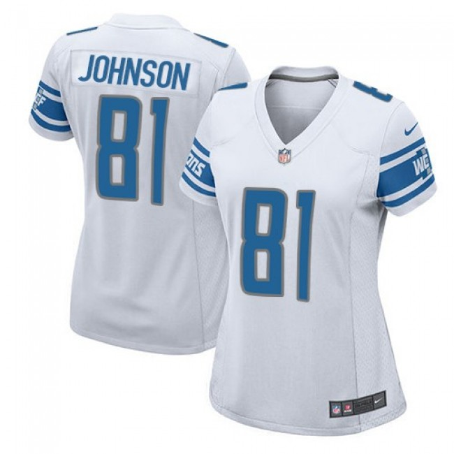 Women's Lions #81 Calvin Johnson White Stitched NFL Elite Jersey