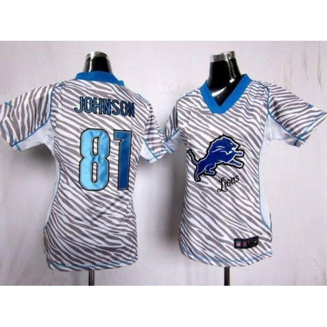 Women's Lions #81 Calvin Johnson Zebra Stitched NFL Elite Jersey